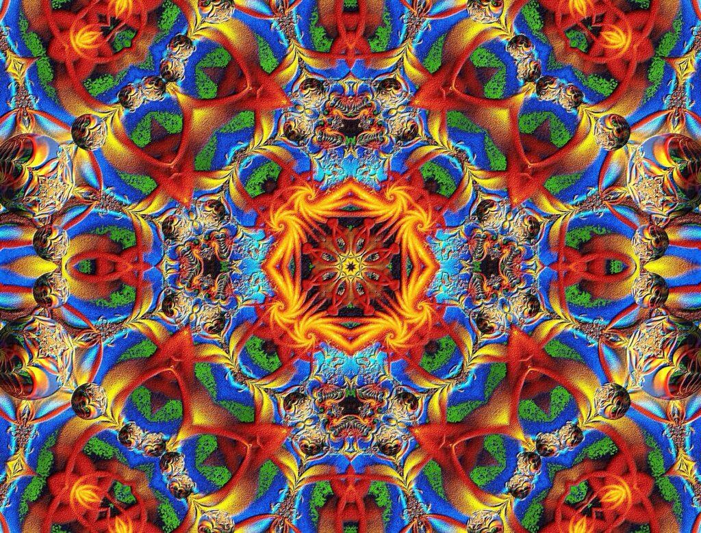 buntes Kaleidoskop mit vielen leuchtenden Farben
